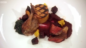 pigeon with beetroot